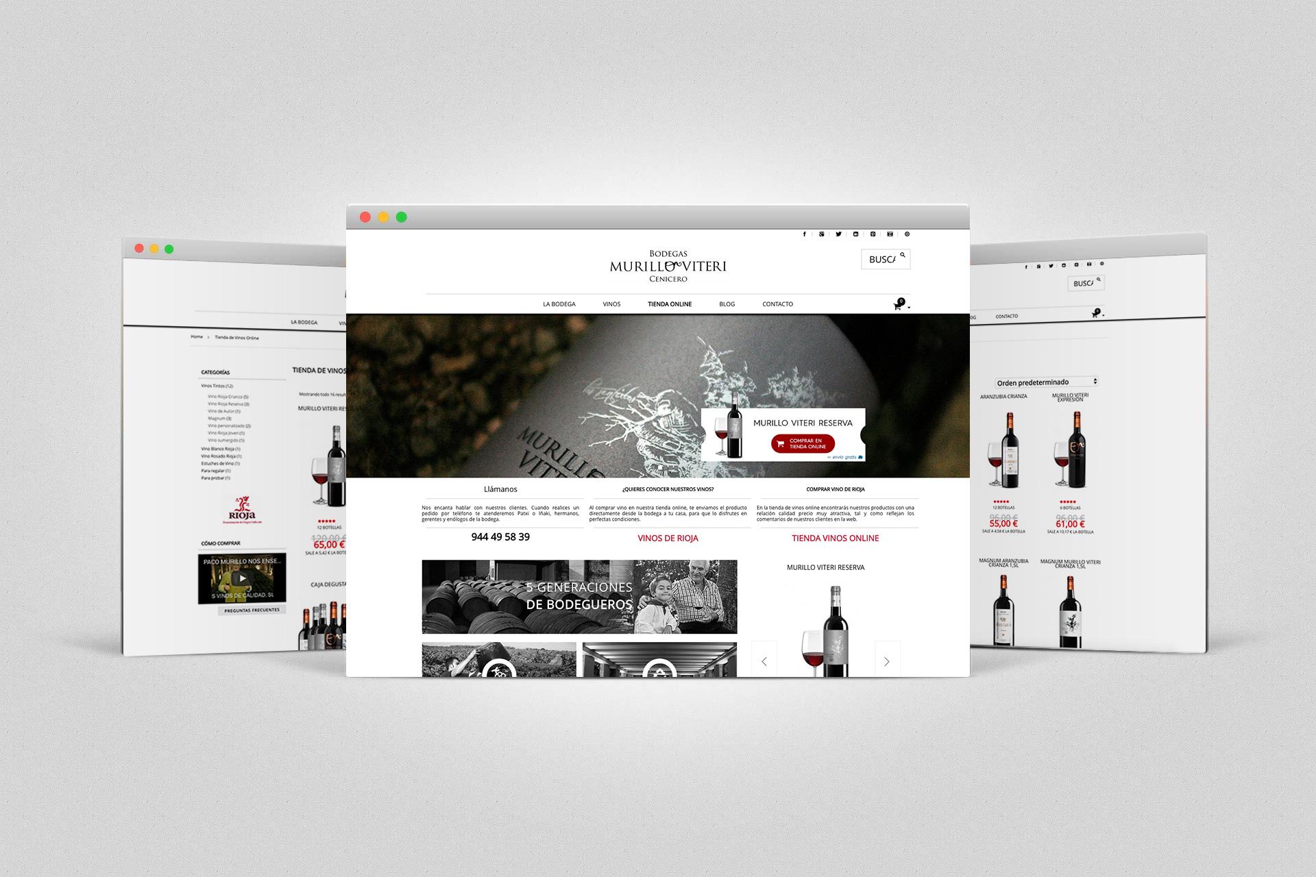Ejemplos de las páginas del ecommerce de Bodegas Murillo Viteri