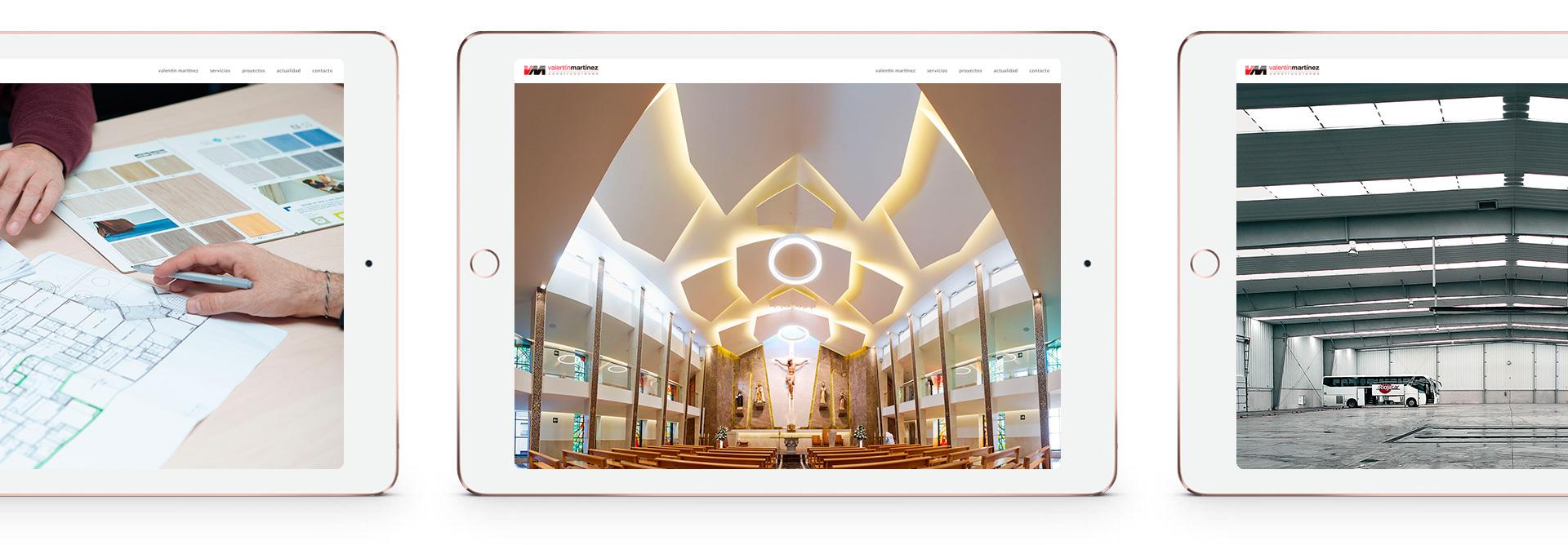 Presentación en tablet de la web realizada para Valentín Martínez Construcciones
