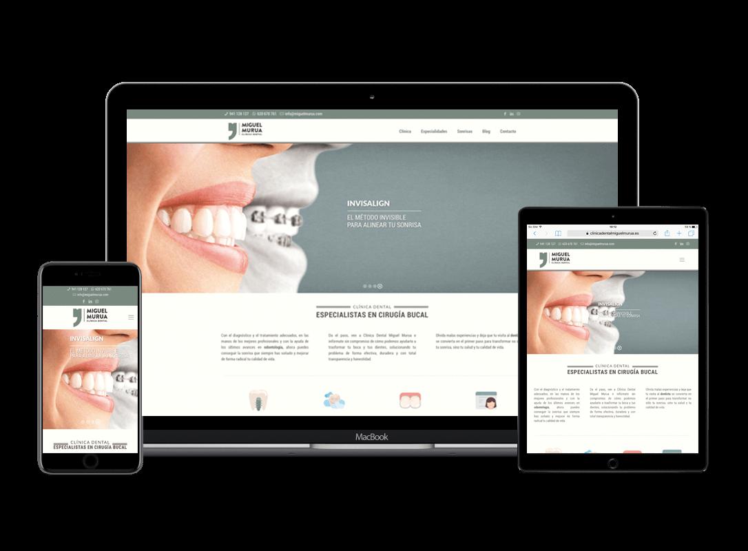 Responsive design para la web de Clínica Dental Miguel Murua en Logroño